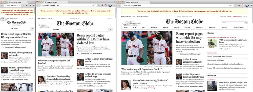Веб-сайт The Boston Globe на телефоне, планшете и настольном мониторе.